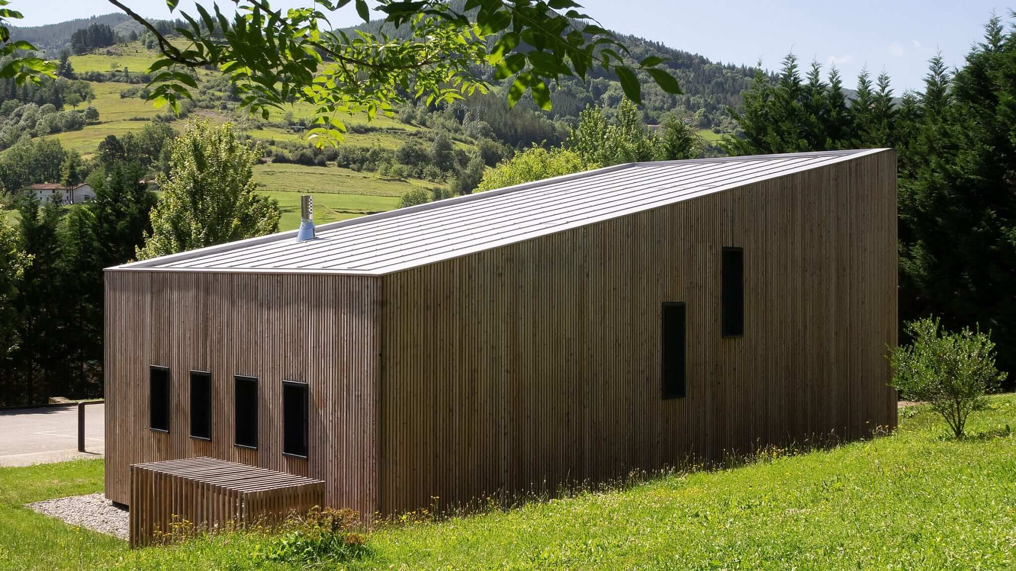 Pilgrim's House is a timber-clad hostel in the Basque countryside